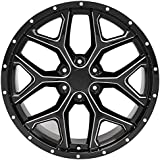 """Partsynergy Replacement For 22"""" Rim fits 1999-2018 GMC Sierra 1500 Snowflake Black with Milled Edge 22x9.5 Aluminum Wheel"""