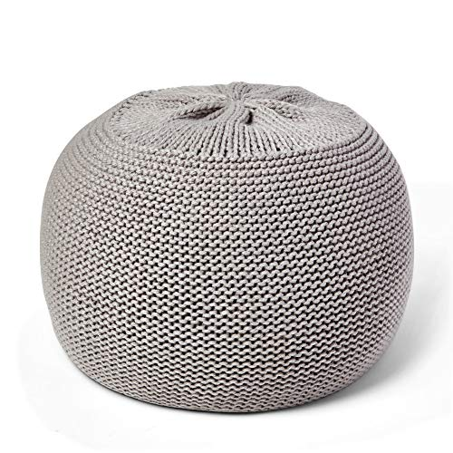 Sunsnap Pouf Ottoman Fillable Covers [NOT Stuffed] Light Gray Soft Chunky Knit Cover Boho Floor Pouffe Ottomans Cushion - Round Accent Poufs for Living Room Bedroom Dorm Nursery Meditation