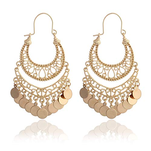 RIAH FASHION Bohemian Chandelier Coin Dangle Earrings - Gypsy Lightweight Filigree Disc Charm Tassel Ethnic Hoops (Gold)