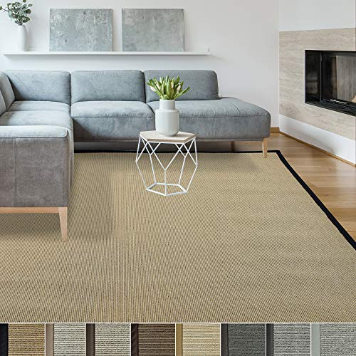 iCustomRug Zara Synthetic Sisal Collection Area Rug and Custom Size Runners, Softer Than Natural Sisal Rug, Stain Resistant & Easy to Clean Beautiful Border Rug in Black 6' x 8' (Custom Rugs Made)