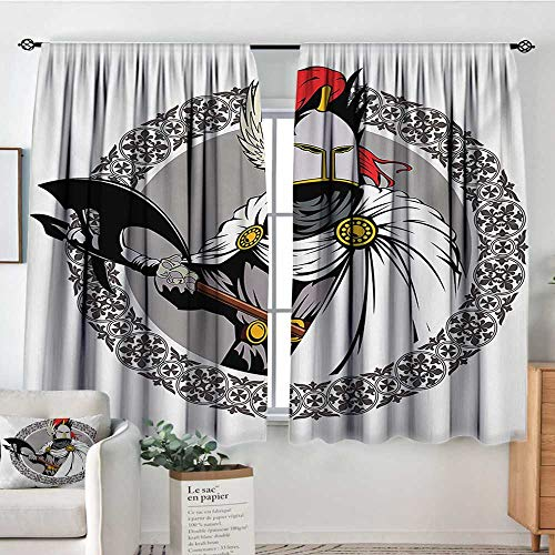 Medieval Thermal Insulating Blackout Curtain The Medieval Knight with Traditional Costume and Ancient Mask Heroic Past Theme Customized Curtains 55
