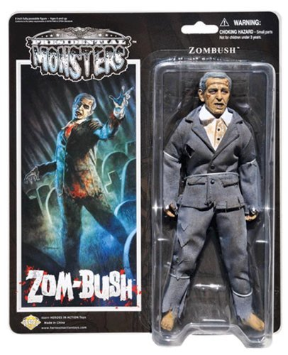 Zombush - Presidential Monsters - George W Bush as a Zombie - 8 1/4 tall fully poseable action figure - with cloth costume by Heroes In Action Toys - Presidential Monsters ()