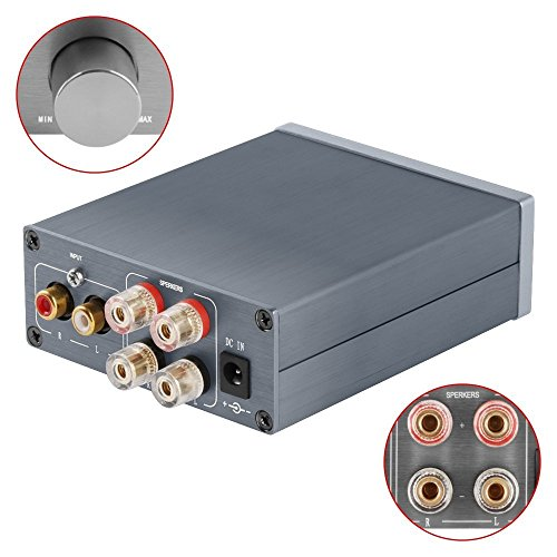 2 Channel Class D Mini Stereo Amplifier for Home Speakers 50W x 2 + Power Supply TPA3116 - Silver