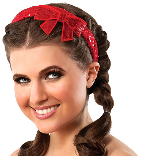 Red Head Halloween Costumes (Rubie's Costume Co Women's Wizard of OZ Dorothy Sequin Bow Headband, Red, One Size)