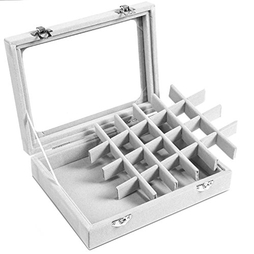 Basuwell 24 Grid Velvet Jewelry Tray for Drawers Glass Clear Lid Showcase Display Storage Ring Trays Holder Earrings Organizer Case-Grey by Basuwell (Image #3)