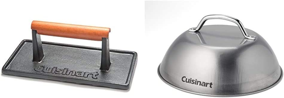 Cuisinart CGPR-221, Cast Iron Grill Press (Wood Handle) & CMD-108 Melting Dome, 9