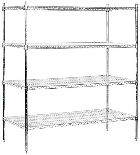 Salsbury Industries Stationary Wire Shelving Unit, 60-Inch Wide by 63-Inch High by 24-Inch Deep, ()