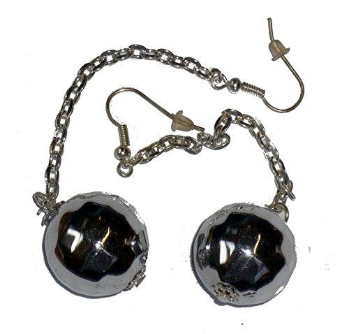 Disco Chain Adult Earrings (9764S Disco Ball Pierced Earrings)