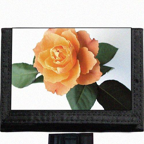 Yellow Rose Black TriFold Nylon Wallet Great Gift Idea