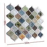 Peel and Stick Tile Backsplash for Kitchen Bathroom,Green Arabesque Tile Backsplash,Mosaic Backsplash Sticker,6 Sheets