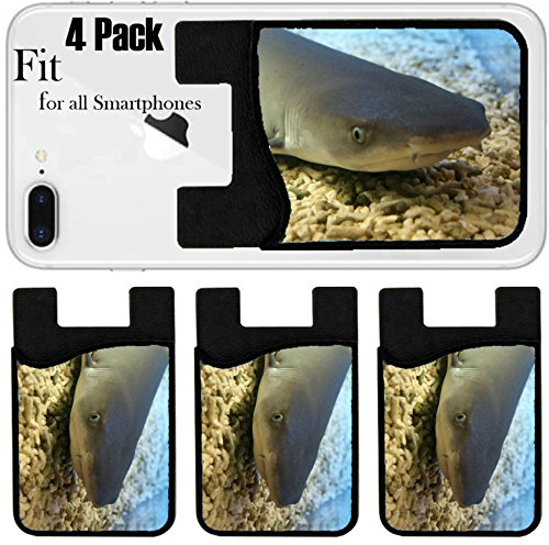 Liili Phone Card holder sleeve/wallet for iPhone Samsung Android and all smartphones with removable microfiber screen cleaner Silicone card Caddy(4 Pack) IMAGE ID: 1826468 shark in the aquarium Sochi