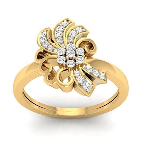 Or jaune 18K 0,23carat au total Round-cut-diamond (IJ | SI) en diamant