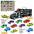 iBaseToy Toy Trucks Transport Car Carrier - Toy Cars Truck Educational Vehicles Toy Car Set Includes 12 Cars, 2 Helicopters, 28 Toy Car Slots?Great Gift for Kids, Toddlers, Children - Boys and Girls