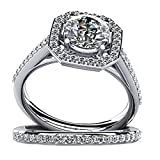 AMDXD Jewelry Custom Ring for Women Sterling Silver Promise Ring Zirconia Crystal Octagon Size 5.5
