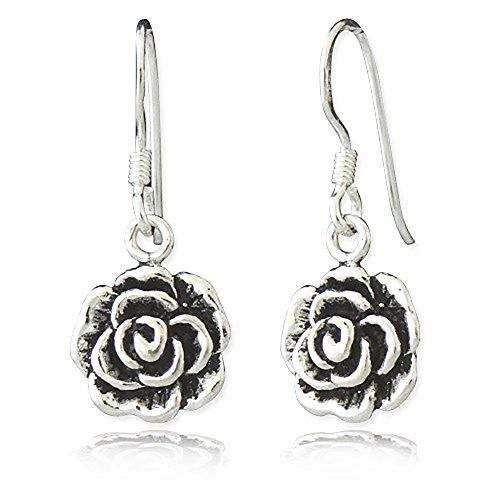 925 Oxidized Sterling Silver Vintage Rose Flower Dangle Hook Earrings