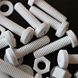 20 x White Philips Pan Head Screws Polypropylene (PP) Plastic Nuts and Bolts, Washers, M5 x 20mm, Acrylic, Water Resistant, Anti-Corrosion, Chemical Resistant, Electrical Insulator, Strong.