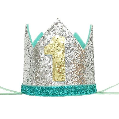 Maticr Glitter Baby Boy First Birthday Crown Number 1 Headband Little Prince Cake Smash Photo Prop (1st Birthday Hat)