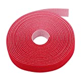 "TNP Hook And Loop Tape Strap Cable Ties Fastener (Red) (15 Feet) - Sticky Self Adhesive Nylon Fabric Roll Wrap 0.75"" Wide 5 Yards Reusable For Cutting Custom Length Cord Wire Fastening"