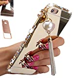 Iphone 6, Iphone 6S Case, AMASELL Luxury Bling 3D Sparkle Diamond Mirror case + Aluminum Metal Frame Bumper With Pearl Tassels Hard PC Back Cover Case 4.7 Inch, Gold with bling