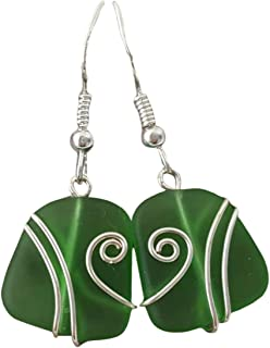 """product image for Handmade in Hawaii,""""Emerald"""" Wire Wrapped sea glass earrings,""""May Birthstone"""", (Hawaii Gift Wrapped, FREE Gift Messaging, FREE Shipping"""