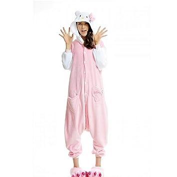 DUKUNKUN Pijama De Adultos Gato Traje De Pijamas De Poliéster Rosa Juego De Roles para Animal