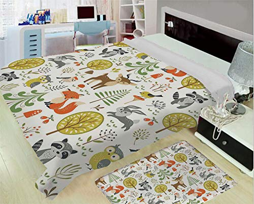 iPrint Super Light and Warm Flannel Warm Sofa or Bed Blanket,Kids,Woodland Forest Animals Trees Birds Owls Fox Bunny Deer Raccoon Mushroom Home and,One Side Printing,Excess Value