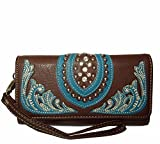 Montana West Rhinestone Accent Boot Scroll Tri-fold Wristlet Wallet- Coffee/TQ