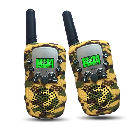 Boys Toys 4-8 Year Old Joyfun Walkie Talkies for Kids 2 Mile Rang for Outdoor Adventures Camping and Hiking Christmas Thanksgiving Gifts Yellow Twin-Pair