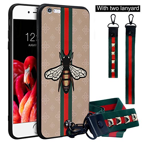 Dairnim iPhone 6s Plus Case, iPhone 6 Plus Case, Ultra-Slim Non-Slip 3D Bees Pattern Relief Soft TPU, Long Short Lanyard, Vintage Retro Phone Case Compatible with iPhone 6 Plus, 6s Plus, Khaki