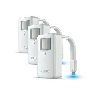 [3-Packs] Vintar 16-Color Motion Sensor LED Toilet Night Light, 5-Stage Dimmer, Light Detection,Best Gag Christmas Present