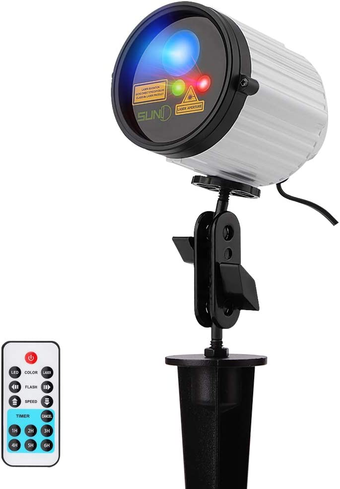 SUNY Xmas Outdoor Laser Decoration Projector Garden Light, Green Red Dual Color 8 Christmas Gobos Landscaping Blue LED Background Night Light, Waterproof Landscape Yard Home Family Party Holiday Show