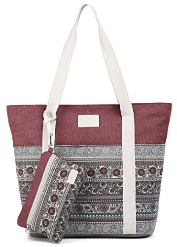 - ArcEnCiel Canvas Tote Womens Shoulder Handbag with Purse (Maroon)