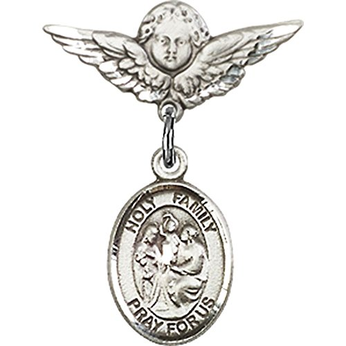 Sterling Silver Baby Badge with Holy Family Charm and Angel w/Wings Badge Pin 7/8 X 3/4 inches by Unknown