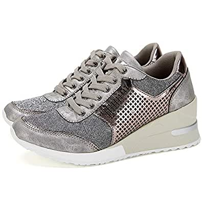 High Heeld Wedge Sneakers for Women - Ladies Hidden Sneakers Lace Up Shoes, Best Chioce for Casual and Daily Wear Silver Size: 5