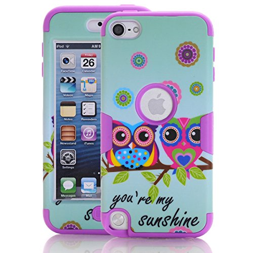 iPod Touch 5/6 Case , SAVYOU iPod Touch Sunshine Owl Print Shockproof Armor Combo Case with Plastic + Silicone Cover for Apple iPod Touch 5/6th (Purple) - Combo Ipod