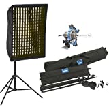 Chimera 8000 Video Pro Plus 1 Triolet Kit (US) with: Triolet Fixture, Speed Ring,4x32'' Video Plus 1 Softbox, Screen, Front Diffuser, 500w Bulb, Fabric Grid for Small 40 deg, Black Light Stand, and Duffle for 42'' Panel