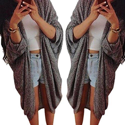 AMA(TM) Women Lady Knitted Cardigan Casual Loose Sweater Jacket Coat (XXX-Large, Dark Gray)