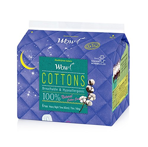 WOW 100% Cotton Sanitary Pad, Panty Liners for Women, Sanitary Napkins with Wings Daily Unscented Natural Breathable, Hypoallergenic Sensitive Skin (4 Size) (Super Long)