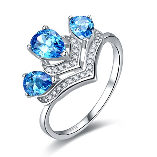 Merthus Womens 925 Sterling Silver Created Blue Topaz Crown (Topaz Crown Ring)