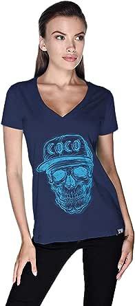 تيشيرت جمجمة كوكو فاتح للنساء من كريو - S، كحلي