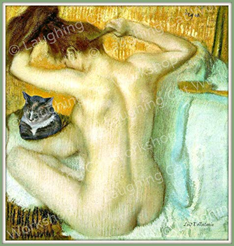 - Whimsical Bathroom art Vintage Victorian Classic French Nude Woman art Hipster Cat photobomb print Degas Bath Art Hair Hairbrush art Blue bedroom decor