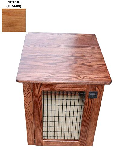 Wooden Dog Crate Furniture End Table Bed in Different Stain Colors (Natural (No Stain), Large)