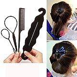 Chartsea 4pcs Ponytail Creator Plastic Loop Styling Tools Pony Tail Clip Hair Braid Maker Styling Tool Fashion Salon (Black)
