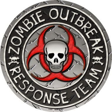 Smart Blonde Zombie Outbreak Novelty Metal Circular Sign C-637 -