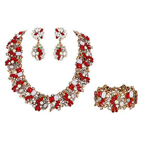 - Flyonce Women's Vintage Statement Costume Choker Chunky Necklace Earrings Bracelet Jewelry Set for Banquet,Prom Red