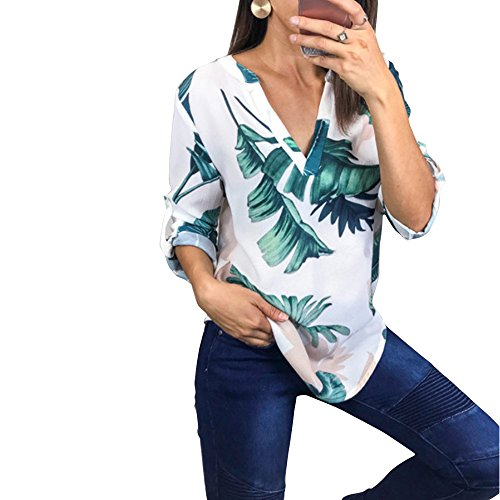 Sumtory Womens Roll Sleeve Casual Blouse Top Floral V Neck Tee Shirt White L