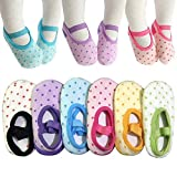 : 6 Pairs Toddler Girl Anti Slip Mary Jane Socks Baby Girl Gift No Skid Ballet Socks with Strap No Show Crew Socks for 12-30 Months Walker