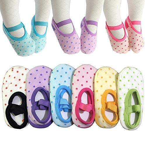 6 Pairs Toddler Girl Anti Slip Mary Jane Socks Baby Girl Gift No Skid Ballet Socks with Strap No Show Crew Socks for 12-30 Months Walker