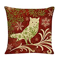Gotd Christmas Snowman Reindeer Elk Pillow Case 18 x 18 Cushion Cover Home Decor Design Throw Pillow Cover Throw Pillow Case (Gift C)