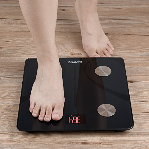 RENPHO Bluetooth Body Fat Scale Smart BMI Scale Digital Bathroom Wireless Weight Scale, Body Composition Analyzer with Smartphone App 396 lbs - Black, 11 x 11 Inch